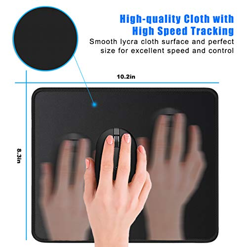 JIKIOU 3 Pack Mouse Pad with Stitched Edge, Mouse Pad with Non-Slip Rubber Base, Washable Mousepads Bulk with Lycra Cloth, Comfortable Mouse Pads 10.2x8.3x0.12inch Black Photo #2