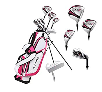 Aspire X1 Ladies Womens Complete Right Handed Golf Clubs Set Includes Titanium Driver S.S Fairway S.S Hybrid S.S 6-PW Irons Putter Stand Bag 3 H/C s Cherry Pink