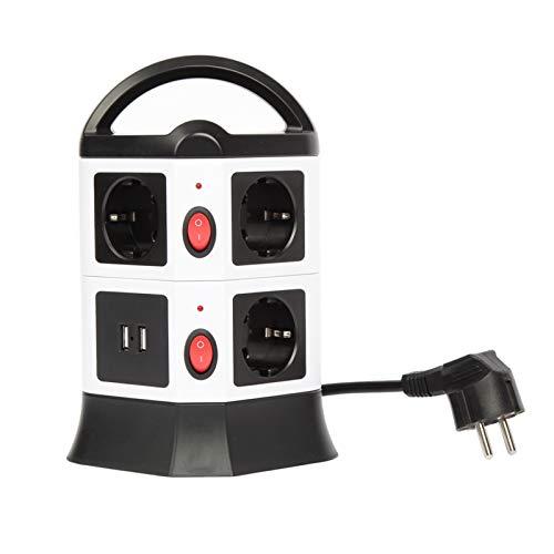 Meisax Regleta de 6 enchufes con 2 puertos USB, torre de enchufe, cable de 1,8 m (2500 W/10 A), enchufe de mesa para oficina, cocina, salón