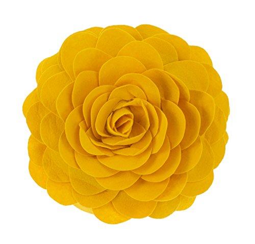 """Fennco Styles Eva's Flower Garden Decorative Throw Pillow with Insert - 13 inch Round (Gold, 13"""" Case+Insert)"""