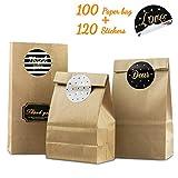 unibelin Papiertüten 100 Kleine Kraftpapiertüten Braune Tütchen Kraftpapier mit Sticker Braune...