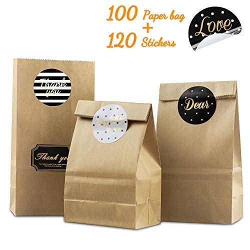 unibelin Papiertüten 100 Kleine Kraftpapiertüten Braune Tütchen Kraftpapier mit Sticker Braune Papiertüten für Weihnachts, Hochzeit, Kindergeburtstag Geschenkverpackung Kraftpapier - 9 x 18 x 5,5cm