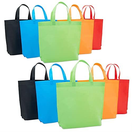 Confezione da 10 sacchetti riutilizzabili per la spesa con manici, leggeri, 5 colori