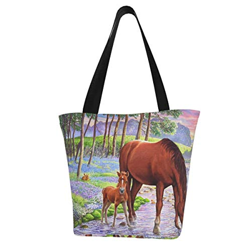 Bluebell Ponies - Bolsa de lona para mujer, lavable, diseño de ponis, color azul