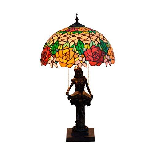 KELITINAus 16-Inch Style Table Lamp,Handmade Stained Glass Bedside Table Lamp for Living Room Restaurant Bedroom Decor Lighting Fixture,E27 (I),F