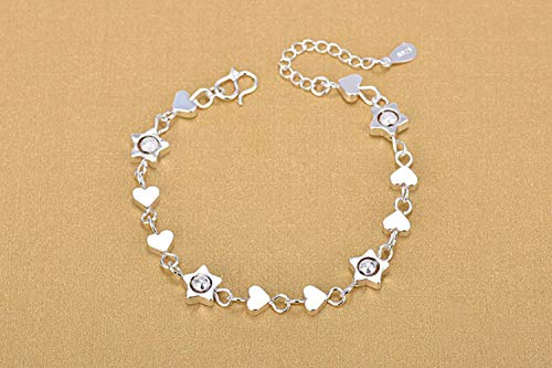HAHAJY Silver Bracelets for Girl Party Jewelry Heart Design Women Silve Anklets Accessories Bride Bijou,1,one size