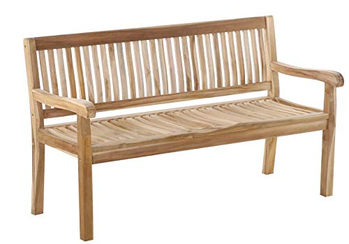 SAM 3-Sitzer Gartenbank Kingsbury, 150 cm Sitzbank, Teak-Holz, Massive Holzbank, ideal für den Balkon oder Garten