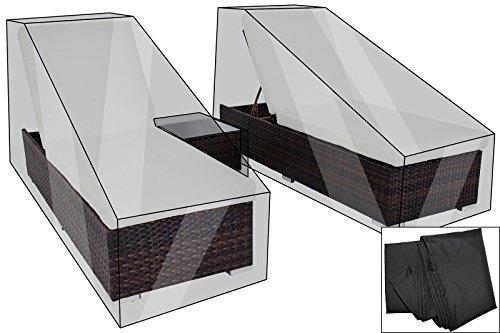 OUTFLEXX Premium Abdeckhauben-Set für Liegen-Set 7761 (2 Liegen à200x70x30cm), wasserbeständig, schwarz