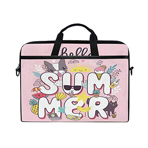 Laptop Sleeve Case,Laptop Bag,Hello Summer Cartoon Animal Fruit Water Briefcase Messenger Notebook Computer Bag with Shoulder Strap Handle,29×40 CM/15.6 Inch