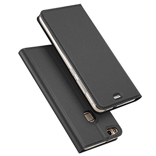 Verco Handyhülle für P9 Lite, Premium Handy Flip Cover für Huawei P9 Lite Hülle [integr. Magnet] Book Hülle PU Leder Tasche, Schwarz