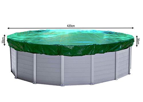 QUICK STAR Abdeckplane Pool Rund 380 bis 420 cm Planenmaß 480cm Winterabdeckplane Poolabdeckung 180g/m²