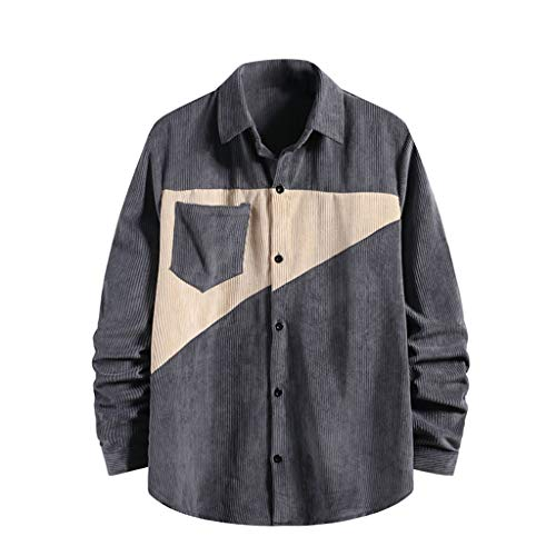 Shirt Men Fashion Jacket Corduroy Button Top Long Sleeve Casual Shirt T-Shirt (L,3Gray)