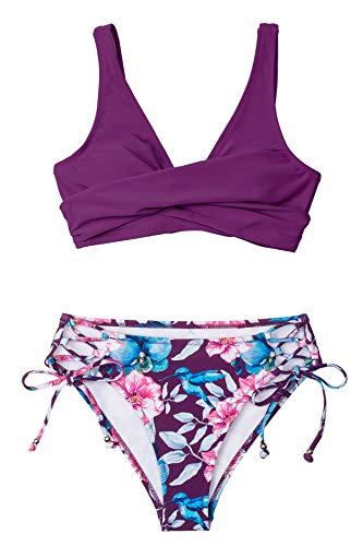 CUPSHE Conjunto de Bikini Mujer Cintura Alta Estampado Floral Lace Up Traje de Baño Dos Piezas, XS