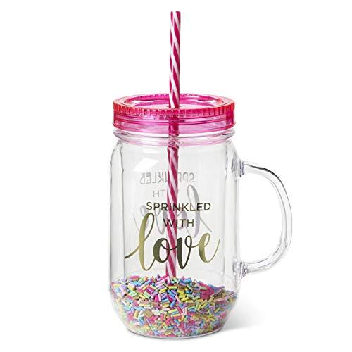 Tri-Coastal Design - Jarra de Plástico con Pajita - Vaso Transparente con Asa de Plástico - Una Idea para Regalo o para Decorar tu Dormitorio o la Cocina - Sin BPA (sprinkles)