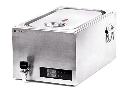 HENDI Sous-Vide Gerät, mit 6-teiligem Abstandhalter und Ablasshahn, Vakuumierte Lebensmittel im Wasserbad, Temperaturbereich: 35°C bis 90°C, GN 1/1, 20L, 230V, 600W, 600x330x(H)300mm, Edelstahl