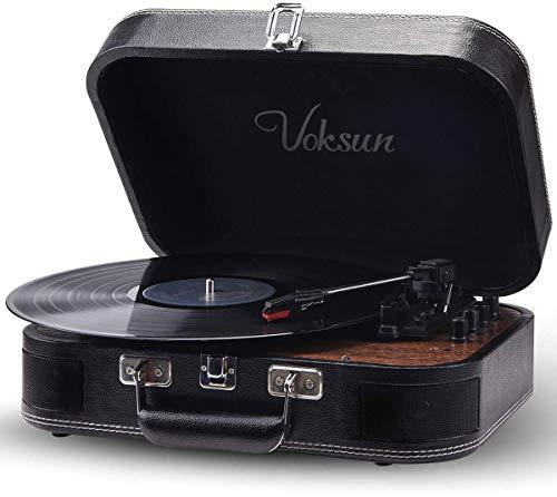 Plattenspieler,VOKSUN Bluetooth Schallplattenspieler Vinyl Plattenspieler Turntable und Digital Encoder mit 3-Gang 33/45/78 U/min Eingebauter 2 Stereo Lautsprecher Aux-In RCA,Kofferdesign (Leder)