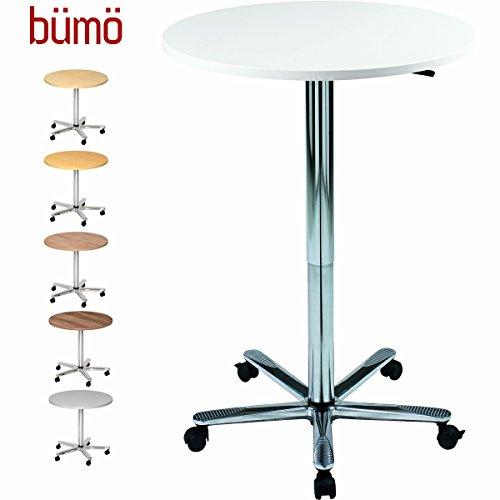 bümö® Besprechungstisch höhenverstellbar   Säulenhubtisch mit Chromsäule   hochwertiger Meeting & Stehtisch für Büro in 2 Formen und 6 Farben (Weiß, Platte: rund Ø 80cm)