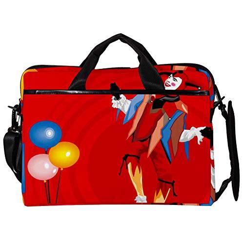 EZIOLY Clown mit Luftballons 35,6 cm (14 Zoll) 38,1 cm (15 Zoll) Laptop Umhängetasche Messenger Bag Crossbody Aktentasche Kuriertasche Kuriertasche für 35,6 cm bis 15,4 Zoll Laptop