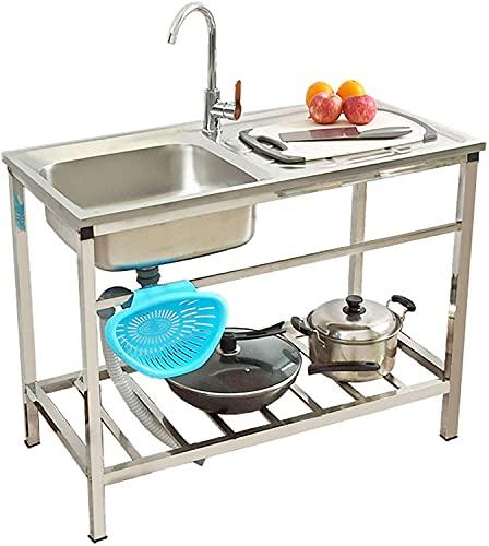 JJSFJH Fregadero de la cocina, fregadero con plataforma y fregadero de acero inoxidable de la cocina con lavabo de plato de grifo frío y frío para restaurante comercial, 29.5'W x 29.5' D x 15.7'H