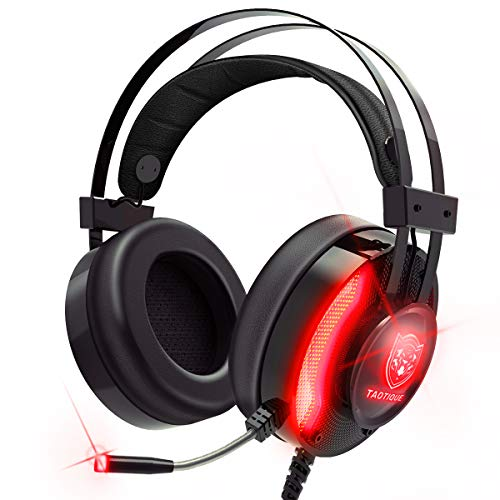 PS4 Gaming Headset, Taotique 7.1 Surround Sound Game Headset for Xbox One Noise Cancelling Gaming Headphones with Mic, Ergonomic Soft Earmuffs and LED Light for PC, Laptop - Red
