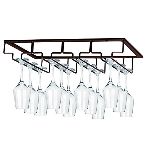 MOCOUM Wine Glasses Rack Under Cabinet Stemware Rack, Wine Glass Hanger Rack Wire Wine Glass Holder Storage Hanger for Cabinet Kitchen Bar (Brown, 4 Rows 1 Pack)