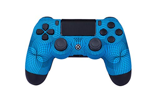 AimControllers PS4 Custom Wireless Controller, PlayStation 4 Personalisierter Controller Grid Blue mit 4 Paddeln, Gaming Joystick, Dualshock, Gamepad [GAMING]