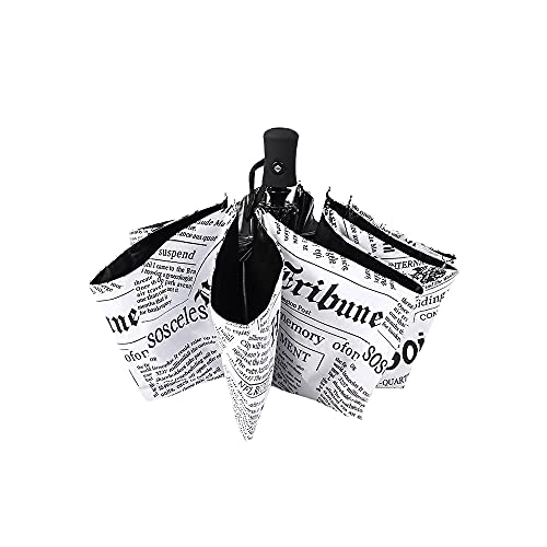 YHD Retro Zeitung Folding Regenschirme,Reise-Regenschirm,Windundurchlässige Regenschirm - Männliche und Weibliche Universeller