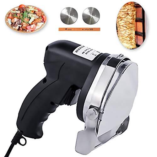 NJTFHU Commercial Gyros Knife Shawarma Machine Electric Kebab Doner Cutter Meat Slicer 60KG Cutting Capacity with 2 Blades 110V for Home Restaurant