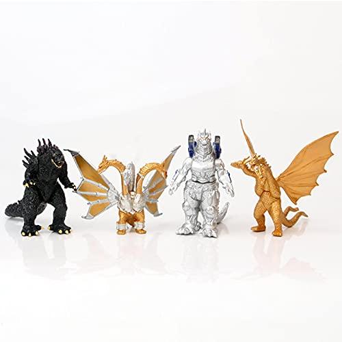 4 pièces/Ensemble Figurine d'anime mécanique Godzilla brûlant Mecha Godzilla Roi des Monstres Ghidorah 3 têtes Dragon Figurines d'action Enfants Jouets 7.5-10Cm