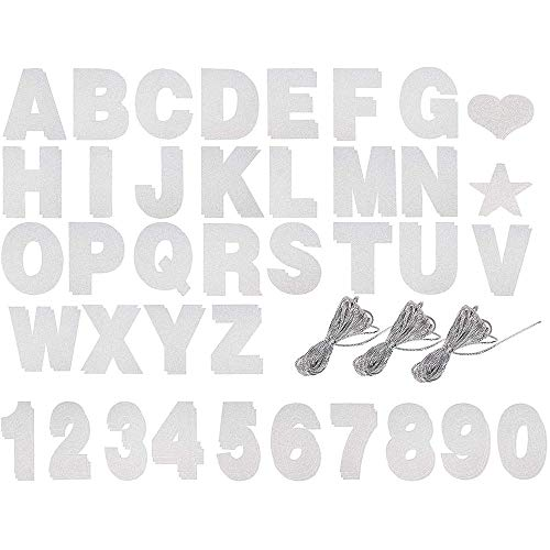 Custom Banner Kit - 125-Piece Customizable Banner Letters, Numbers, and Symbols, Silver Glitter DIY Letter Banner