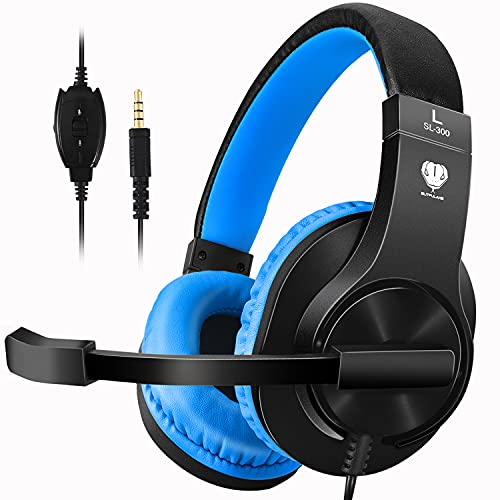 BUTFULAKE Stereo Gaming Headset for Nintendo Switch,PS4,Xbox One,Adjustable Earmuffs and Over-All Noise Isolation, Lightweight 3.5mm Wired Volume Control with Mic for Laptop PC (Black-Blue)