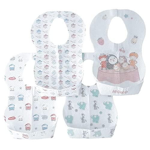 WS WorlsTrend Babero desechable con 4 diseños de 20 unidades, Baberos desechables para bebés recién nacidos, Babero para niño, Baberos ajustables, Baberos desechables de viaje