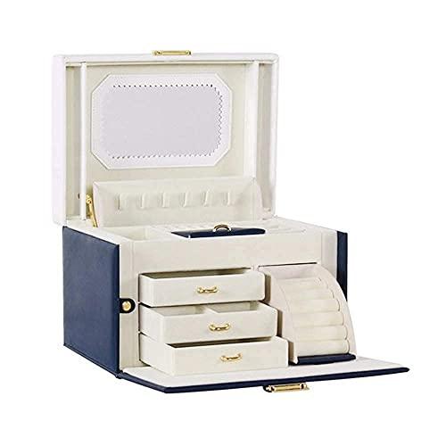 JIANGCJ Bella Mini Caja de joyería Caja de Almacenamiento de Gran Capacidad Accesorios de joyería Joyas Cofres para Anillos Pendientes CollaresDark Azul (Color : Dark Blue)