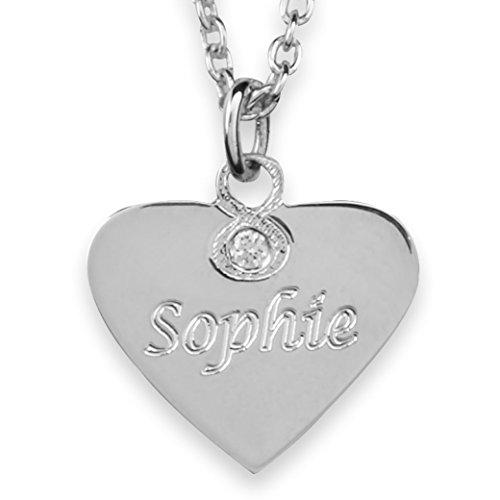 Hals-Kette echt Silber 925 mit Gravur - Herz Namenskette, Geschenke für Mädchen zur Geburt Taufe Kommunion