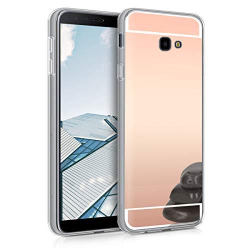kwmobile Funda Compatible con Samsung Galaxy J4+ / J4 Plus DUOS - Carcasa Protectora Trasera de TPU para móvil en Oro Rosa con Efecto Espejo