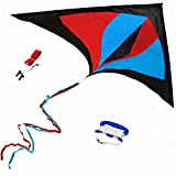 StuffKidsLove Best Delta Kite, Easy Fly for Kids and Beginners, Single Line w/Tail Ribbons, Stunning Red, Blue & Black, Materials, Large, Meticulous Design and Testing + Guarantee + Bonuses!