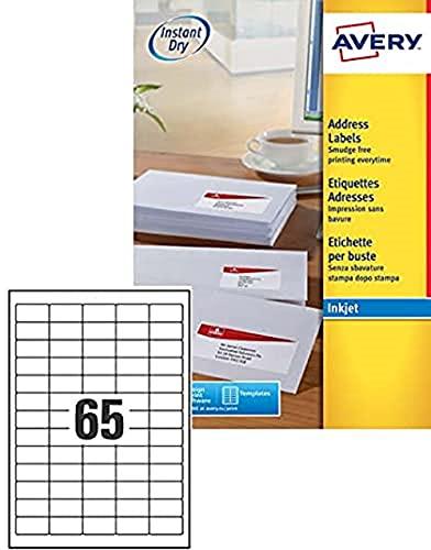 Avery samoprzylepne mini organizujące etykiety adresowe zwrotów, drukarki atramentowe, (etykiety 38,1 x 21,2 mm, 65 etykiet na arkusz A4, 25 arkuszy), 1625 etykiet, QuickDRY (J8651)