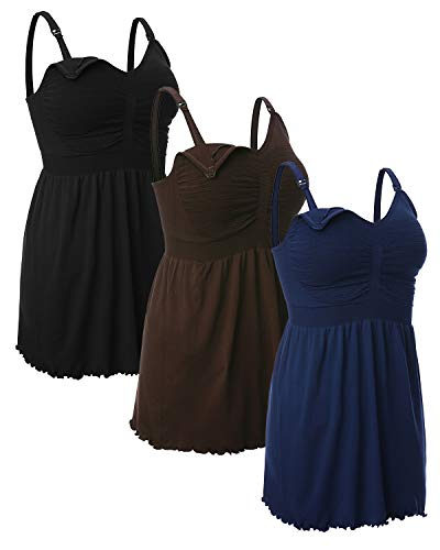 iloveSIA Women's Maternity Nursing Tank Tops Breastfeeding Pajamas with Built in Bra Cami Shirt 3 Pack Black+Blue+Coffee Size L