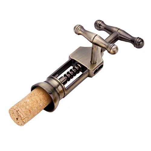 Vintage Metal Wine Bottle Opener Creative Turn Corkscrew with Extra Handle Bronze