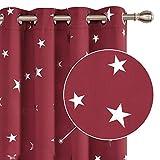 Deconovo Sterne Vorhangschal Lärmschutzvorhang Wohnzimmervorhang mit Ösen Gardinen Home 240x140 cm Rot 2er Set