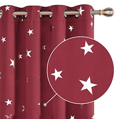 Deconovo Cortina Opaca para Habitación Matrimonio de Estrellas Plateadas Estilo Moderno Elegante con Ojales 2 Piezas 140x180cm Rojo Oscuro