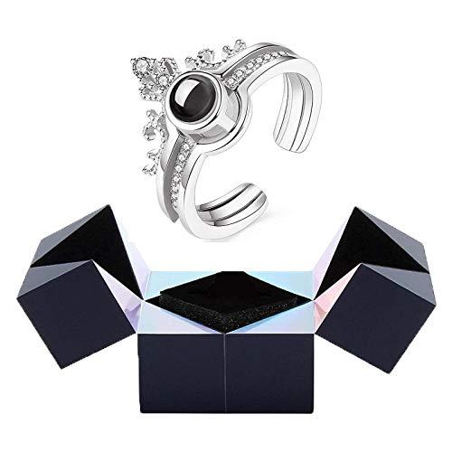 Creative Crown S925 Anillo De Plata Y Joyero con Rompecabezas, Caja De Anillo De Cubo MáGico, Caja De Regalo Giratoria para JoyeríA, Dos Formas De Abrir, 100 Idiomas, Te Amo Plata