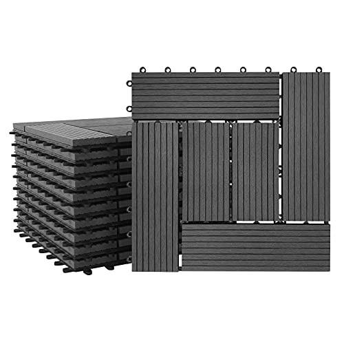 LARS360 22 baldosas de WPC, color antracita, para suelo, terraza, balcón, suelo con sistema de clic y drenaje, de plástico, para terrazas, balcón, jardín, tamaño 30 x 30 cm, total 2 m², tipo C
