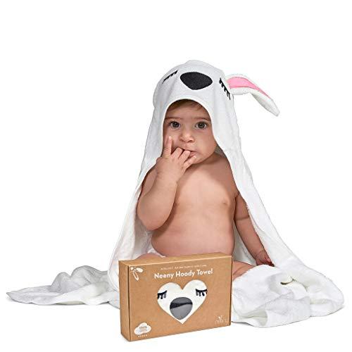 NEENY Asciugamano bambino con cappuccio ultra morbido 100% naturale cotone bambù accappatoio neonati e disegni di animali Super assorbente 90x90 cm per bambini e bambine. Salvietta GRATIS