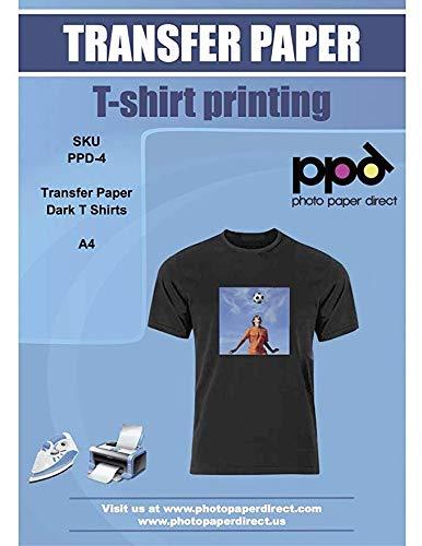 PPD Papel de transferencia para camisetas oscuras para impresión con inyección de...