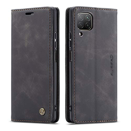 mvced Handyhülle Kompatibel mit Huawei Nova 6SE/P40 Lite 4G/Nova 7i,Premium Leder Flip Hülle Schutzhülle mit Standfunktion,Schwarz