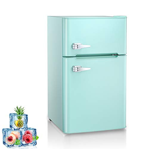 Price comparison product image Kismile Double Door 3.2 Cu.ft Compact Refrigerator with Top Door Freezer, Freestanding mini Fridge with Adjustable Temperature, Upright Freezer for Apartment, Home, Office, Dorm or RV (Green,  3.2 Cu.ft)