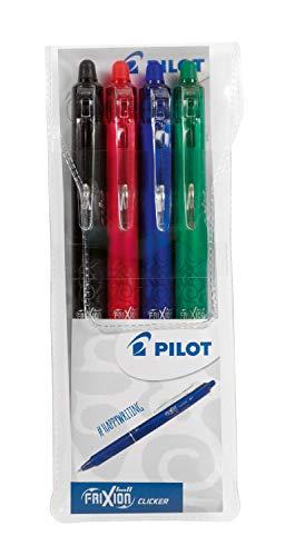 Pilot 2270S4 Frixion Ball Clicker - Bolígrafos de bola borrable (0,7 mm, 4 unidades), color negro, rojo, azul y verde