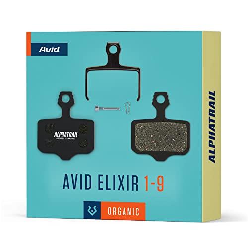 Alphatrail Bremsbeläge - Avid Elixir I Organischer MTB Bremsbelag mit hoher Bremskraft & Laufleistung 100% Passgenau für Fahrrad Scheibenbremse von Avid Elixir R Carbon 1 3 5 7 9 X7 CR 10 XO VIA GT