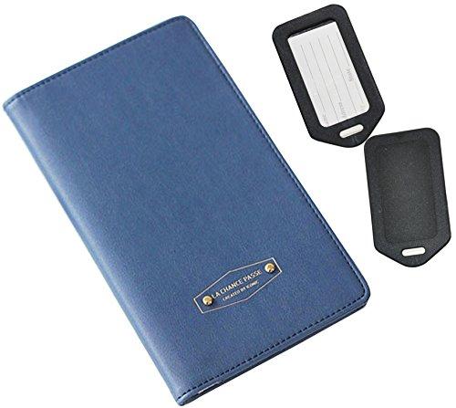 RFID Blocking Passport custodia blu multifunzione organizer by One Planet, copertura per viaggi sicuro, no Skimming Compact carte di credito e debito, con bonus 2etichette per bagagli, acquista ora.